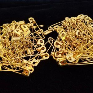 100 Safety Pins BRASS Assorted Sizes